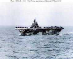 USS Hornet (CV-12) operating near Okinawa, 27 March 1945
