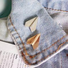 Origami paper plane brooch enamel pin