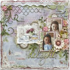 Scrapbook page made by Maja Design team member Gabrielle Pollacco using the NEW Coffee in the Arbour collection, Shimmerz Sprays (Bed of Roses and Key Lime) and Dusty Attic chipboard #MajaDesign #Shimmerz #DustyAttic