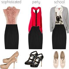 Black Pencil Skirt, 3 Ways