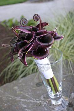 Love it!!...Egg Plant Mini Calla Lily and Fiddlehead Fern Bridal Bouquet
