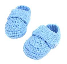 Bigood Strickschuh One Size Strick Schuh Baby Unisex süße Muster 11cm Knopf Blau - http://on-line-kaufen.de/bigood/bigood-strickschuh-one-size-strick-schuh-baby-2