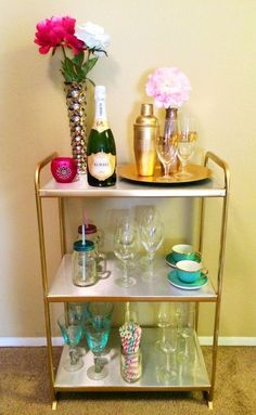 Turn a simple IKEA shelving unit into a stylish bar cart!                                                                                                                                                                                 More
