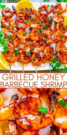 Grilled Honey Barbecue Shrimp (10-Minute Recipe!) - Averie Cooks Best Seafood Recipes, Healthiest Seafood, Shrimp Recipes, Barbecue Shrimp, Barbecue Sauce, Bbq, Quick Easy Meals, Easy Dinner Recipes, Simple Recipes