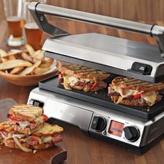Breville Smart Grill & Griddle on Williams-Sonoma.com love this but it's a no brainer when a brick covered in foil will work just as well. you don't get those pretty little grill marks but then again the bricks free....
