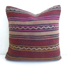 Decorative pillow cover made with a vintage Turkish Hand woven Kilim rug. Kilim Pillows, Kilim Rugs, Throw Pillows, Crochet Instructions, Decorative Pillow Covers, Hand Weaving, Stripes, Vintage, Products