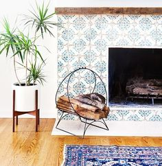 tiles surrounding a fireplace from Tabarka Tile - design by Amber Lewis