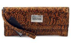 Kenneth Cole Reaction Womens Strap Clutch Wallet Cheetah Long Island Wristlet $19.95
