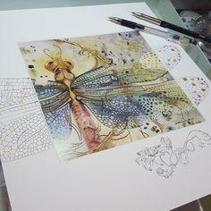 Esto es sorprendente y Brillante y hermoso! Watercolor And Ink, Watercolor Paintings, Watercolors, Dragonfly Art, Insect Art, Wow Art, Art Graphique, Art Techniques, Art Tutorials