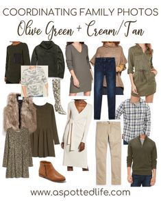 5 Color Coordinated Family Photo Outfit Ideas Need inspiration for a color-coordinated family photo shoot? One option is olive green+cream/tan. Each of these pieces are linked for you. Fall Family Picture Outfits, Winter Family Pictures, Family Picture Colors, Family Portrait Outfits, Family Photos What To Wear, Family Pics, Colors For Family Pictures, Neutral Family Photos, Farm Pictures