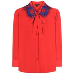 Marc Jacobs Silk Shirt (2.710 RON) ❤ liked on Polyvore featuring tops, shirts, red, shirt tops, red top, marc jacobs shirt, red silk shirt and silk top