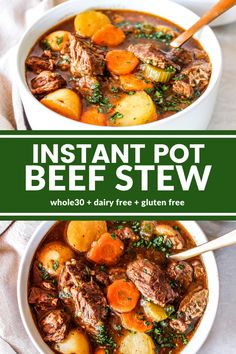 The BEST Instant Pot Beef Stew recipe! Fork tender beef with carrots and potatoes are super flavorful in a rich, savory broth. Ready in under an hour! Instant Pot Beef Stew Recipe, Instant Pot Dinner Recipes, Beef Bourguignon, Streetfood Market, Paleo Recipes, Soup Recipes, Crockpot Beef Recipes, Recipies, Delicious Recipes