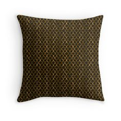 Brown Scissor Stripes Throw Pillow - Home Decor Gifts by Gravityx9 Designs at Redbubble - Scissors lined up, end to end, with shades of shades of Rust, gold and brown.