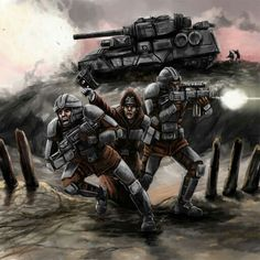 inspired by the Warhammer universe; Imperial guardsmen in battle To the Front Warhammer 40k Memes, Warhammer Art, Warhammer 40000, Warhammer Imperial Guard, 40k Imperial Guard, Imperial Guardsman, Environment Concept Art, The Grim, Sci Fi Fantasy