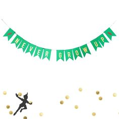 Never Grow Up Birthday Banner Peter Pan Party Decoration Baby 1st 2nd Tinker #LePetitPain #BirthdayChild