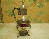 Corning Brand Vintage Glass Carafe With Warming Stand
