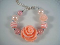 Pink Rose Children's Bracelet  Whimsical by SherisUniqueBoutique