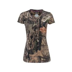 Ladies' Short-Sleeved Camo Tee Walmart.com ❤ liked on Polyvore featuring tops, t-shirts, camo top, short sleeve t shirts, brown tops, camo tee and camo t shirt