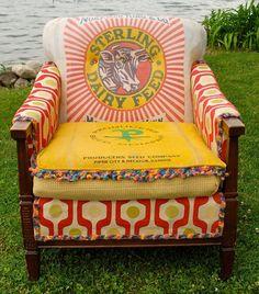 Feed Sack Furniture Goes Farmhouse Chic Western Furniture, Funky Furniture, Furniture Making, Painted Furniture, Furniture Design, Bohemian Furniture, Cabin Furniture, Lounge Furniture, Rustic Furniture