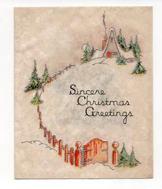 Vintage Christmas Greeting Card Art Deco Cozy Snowy House Fence | eBay