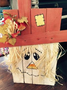 "Courtney of All Things New Again did this AMAZING fall project! WOW! Here is what she had to say ""We used Real Milk Paint Red Stone & Soft White on these little guys for our Pallet Scarecrow Workshop today. They all turned out really cute!"""
