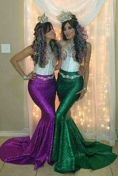 Turquesa sirena falda cola de traje Lycra del estiramiento