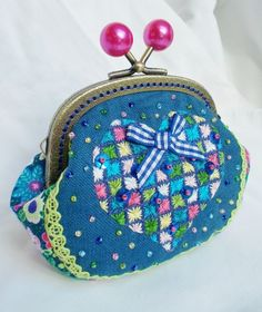 'A Heart for Hermoine'  hand embroidered coin purse in inky blues & brights