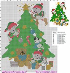 schema a punto croce con elfi che addobbano l'albero di natale