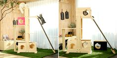If you have a spare room that you need to Catify, check out these incredible cat towers from Korean company CatWheel. They're actually more like complete jungle gyms, with platforms, ramps, scratchers, hideaways, and exercise wheels. It looks like you can customize them to include anything you want. I love the look of these sleek systems, including…