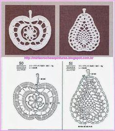 Crochet apple and pear chart pattern Appliques Au Crochet, Crochet Motifs, Thread Crochet, Crochet Doilies, Crochet Flowers, Crochet Lace, Filet Crochet, Crochet Amigurumi, Crochet Diagram