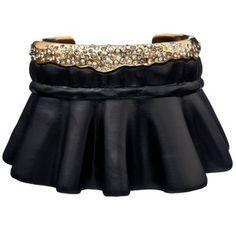 Alexis Bittar Crystal Encrusted Gold & Black Ruffle Cuff