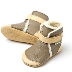 Liliputi® soft soled booties - Himalaya Grey #softleatherbabyboots #babyboots #winter