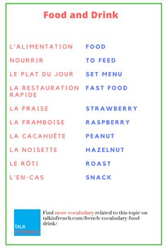 French Vocabulary: Food and Drink (A list of 115 words translated in French) - Impress everyone with your mind-blowing French food vocabulary. Learn here numerous words related t - Basic French Words, French Phrases, How To Speak French, Learn French, French Names, French Quotes, French Language Lessons, French Language Learning, Learn A New Language
