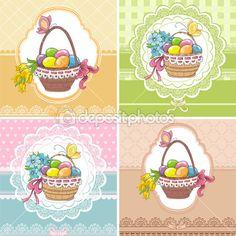 Набор старинные пасхальные открытки с корзина с яйцами и цветы