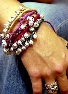 thread bracelet with gypsy bells