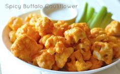 Spicy Buffalo Cauliflower  Ingredients:  1 head cauliflower  For the batter:  Dash of Frank's Original Hot Sauce, or whatever kind you like  ½ c. white rice flour  ½ c. water  Pinch salt  For the Buffalo sauce:  ¼ c. Frank's Hot Sauce  ¼ c. oil, canola oil works best  Pinch salt
