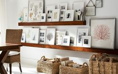Easier than hanging frames Wood Gallery frames on picture shelves Galley Wall, Family Room Walls, Family Wall, Family Pictures, Picture Shelves, Picture Ledge, Wooden Picture, Gallery Frames, Art Gallery