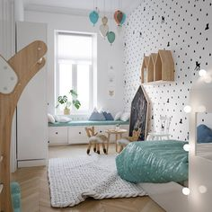 Kids room decorating: modern scandinavian style home design for young famil Kids Room Design, Home Design, Design Design, Design Ideas, Baby Bedroom, Girls Bedroom, Bedroom Small, Scandinavian Style Home, Scandinavian Design