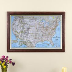 Classic US Travel Map in Solid Wood Cherry Red Frame - Highly detailed US map perfect for pinning past and future vacations. Use it to track your 50 State challenge!