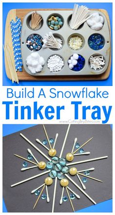 Winter STEM- Build A Snowflake Tinker Tray. Use loose parts to build snowflakes. Explore radial symmetry as you incorporate math science fine motor work and creativity in this activity for preschoolers kindergartners and elementary kids. Winter Activities For Kids, Winter Crafts For Kids, Winter Fun, Christmas Activities, Winter Theme, Toddler Activities, Winter Preschool Activities, Therapy Activities, Science Activities