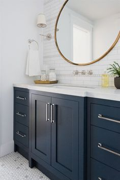 › Bathroom Cabinets And Vanities. Marble mosaic floor and navy cabinets. Marble mosaic floor and navy cabinets. Blue Bathroom Vanity, Navy Blue Bathrooms, Blue Vanity, Bathroom Vanity Cabinets, Kitchen Cabinets, Kitchen Floor, Bathroom Sinks, Bathroom Colors, Kitchen Sink