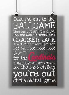 St. Louis Cardinals- Take Me Out to the Ballgame Chalkboard Print