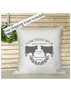 Cow Pillow  Farm Fresh Milk  French by SimplyFrenchMarket on Etsy