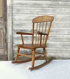 Vintage Wooden Child's Rocking Chair 1940's by MomsantiquesNthings