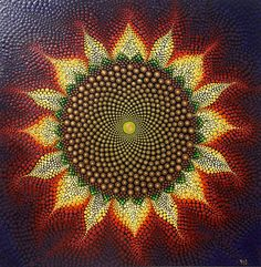Sacred Geometry Sunflower ~ Dot Painting 12 x 12 inch Wood Plaque ~ Ready to hang Original art by Kaila Lance ~ signed and dated The beautiful art of sacred geometry is found so often in nature but my favorite example of mother natures sacred art is in the sunflower. This painting