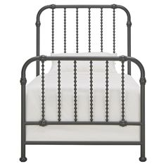 Wharton Wavy Spindle Metal Bed Twin -Gray Inspire Q, Gray