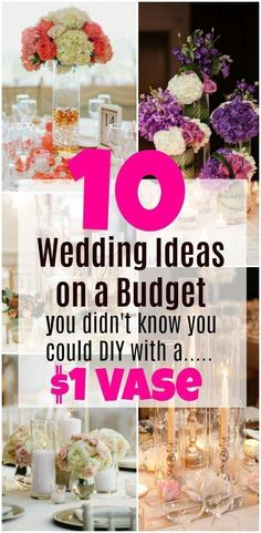 Wedding Ideas on a budget. Wedding ideas with dollar store products. Wedding decoration ideas on a budget. Budget wedding ideas, wedding centerpieces, and wedding decorations that are inexpensive and cheap but don't look inexpensive and cheap. Wedding Decorations On A Budget, Wedding Table Centerpieces, Centerpiece Ideas, Centerpiece Flowers, Wedding Reception On A Budget, Shower Centerpieces, Wedding Arrangements, Ceremony Decorations, Reception Ideas