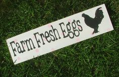 Chicken Coop Sign  Farm Fresh Eggs White with by GreenChickens, $14.95