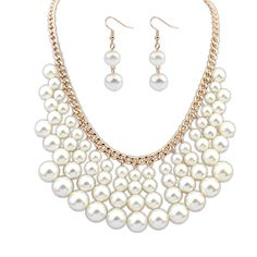 Zinc Alloy Jewelry Sets, earring & necklace, with ABS Plastic Pearl, white, 50x4.7cm, 3x1cm, Length:Approx 19.5 Inch,china wholesale jewelry beads
