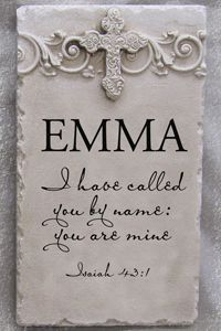 """I have called you by name"", Isaiah Personalized Name Plaque. Each Plaque is made to order and Can take weeks to ship. Top Relief - select from Cross, Fleur De Lis or Damask Scroll Plaque Mea Baptism Party, Baptism Gifts, Baptism Ideas, Baby Baptism, Baptism Talk, Baptism Themes, Baptism Decorations, Bat Mitzvah, Dedication Ideas"
